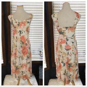 Christopher & Banks Peach Floral Chiffon Dress 16